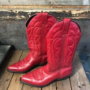 Vintage Vittorio Riccio Red Leather Cowboy Boots